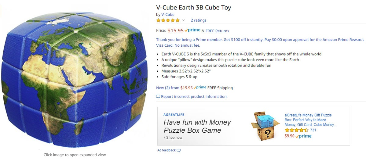 Geek insider - v-cube earth 3b cube toy
