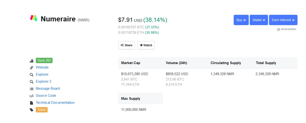 nmr cryptocurrency price